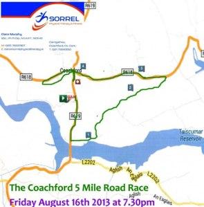 5 Mile Road Race route