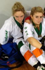 Emma Flanagan and Shannon Murphy put on their game faces at the world Kickboxing championships in Greece