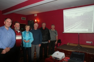 Doug Lucey, ACR heritage group, Martin O Mahony, Photographer, Siobhan Hogan, organiser, Tim O'Brien, Historian, Anthony Greene, ACR Heritage group and Jimmy Buckley, Buckley's Garage and Peake Railway Station.