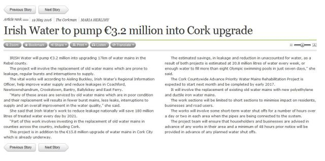 Irish Water article Corkman May 16