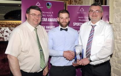 John Feeney, Muskerry Board, Sean O' Sullivan, award winner and Michael O' Riordan, Auld Triangle Barv& Restaurant, Sponsors of the monthly awards